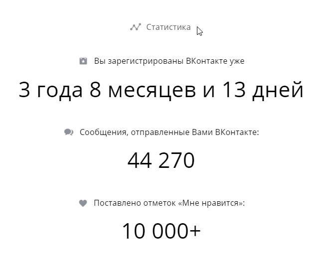 Полная статистика со дня регистрации