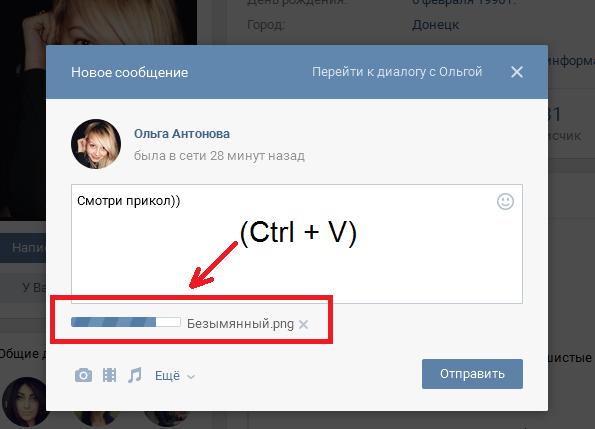Вставка скриншота при помощи клавиш Ctrl + V