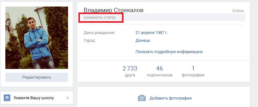 Функция изменения статуса Вконтакте